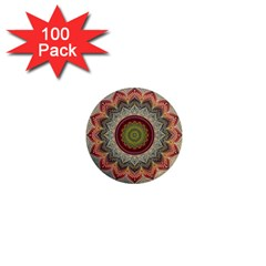 Folk Art Lotus Mandala Dirty Blue Red 1  Mini Magnets (100 Pack)  by EDDArt