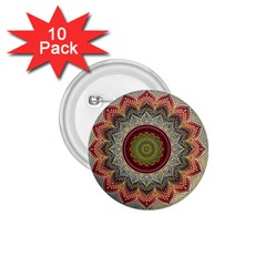 Folk Art Lotus Mandala Dirty Blue Red 1 75  Buttons (10 Pack)