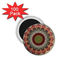 Folk Art Lotus Mandala Dirty Blue Red 1 75  Magnets (100 Pack)  by EDDArt