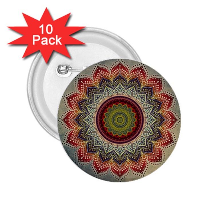 Folk Art Lotus Mandala Dirty Blue Red 2.25  Buttons (10 pack)