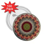 Folk Art Lotus Mandala Dirty Blue Red 2.25  Buttons (100 pack)  Front