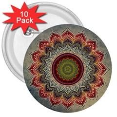 Folk Art Lotus Mandala Dirty Blue Red 3  Buttons (10 Pack)