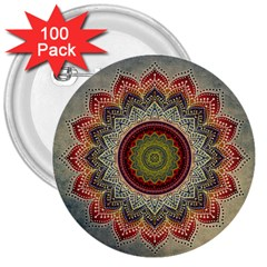 Folk Art Lotus Mandala Dirty Blue Red 3  Buttons (100 Pack)