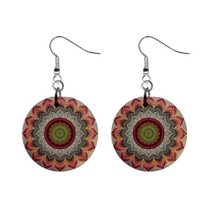 Folk Art Lotus Mandala Dirty Blue Red Mini Button Earrings