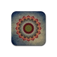 Folk Art Lotus Mandala Dirty Blue Red Rubber Coaster (square)  by EDDArt