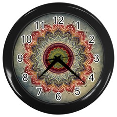 Folk Art Lotus Mandala Dirty Blue Red Wall Clocks (black) by EDDArt