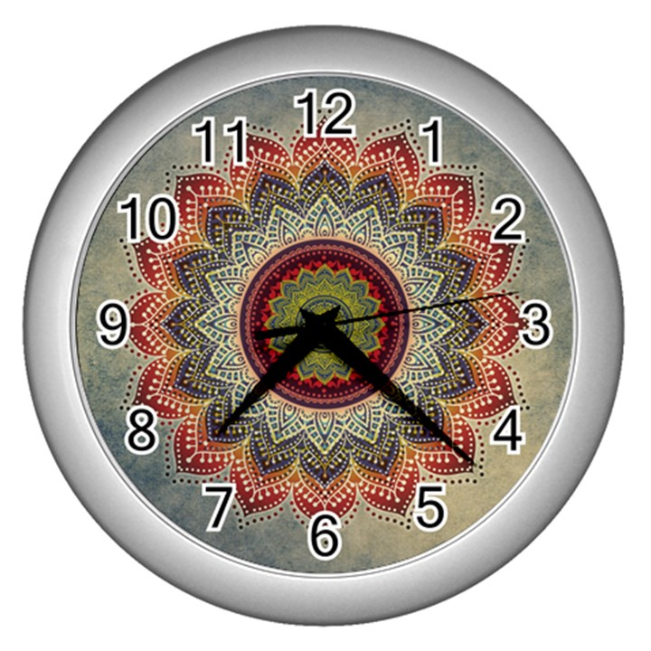 Folk Art Lotus Mandala Dirty Blue Red Wall Clocks (Silver)