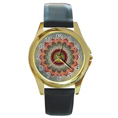 Folk Art Lotus Mandala Dirty Blue Red Round Gold Metal Watch by EDDArt