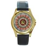 Folk Art Lotus Mandala Dirty Blue Red Round Gold Metal Watch Front