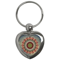 Folk Art Lotus Mandala Dirty Blue Red Key Chains (heart)