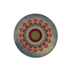 Folk Art Lotus Mandala Dirty Blue Red Rubber Coaster (round)