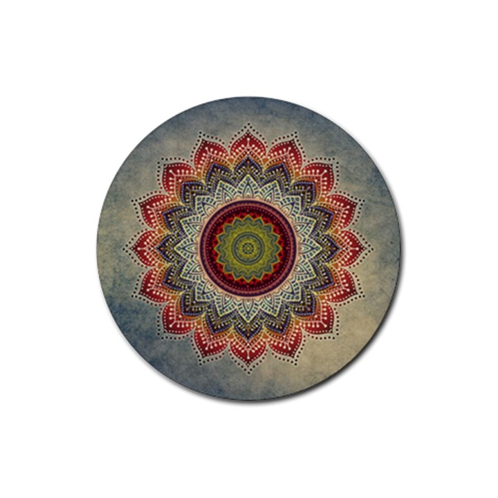 Folk Art Lotus Mandala Dirty Blue Red Rubber Round Coaster (4 pack)
