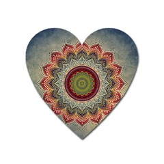 Folk Art Lotus Mandala Dirty Blue Red Heart Magnet