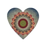 Folk Art Lotus Mandala Dirty Blue Red Heart Magnet Front