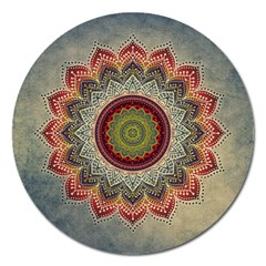 Folk Art Lotus Mandala Dirty Blue Red Magnet 5  (round)