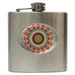 Folk Art Lotus Mandala Dirty Blue Red Hip Flask (6 oz) Front