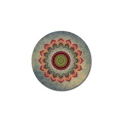 Folk Art Lotus Mandala Dirty Blue Red Golf Ball Marker