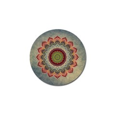 Folk Art Lotus Mandala Dirty Blue Red Golf Ball Marker (4 Pack) by EDDArt