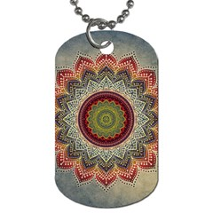 Folk Art Lotus Mandala Dirty Blue Red Dog Tag (two Sides) by EDDArt