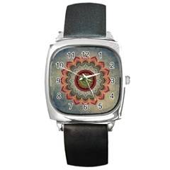 Folk Art Lotus Mandala Dirty Blue Red Square Metal Watch by EDDArt