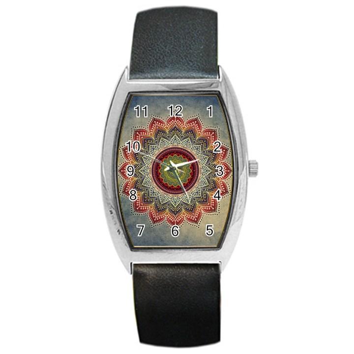 Folk Art Lotus Mandala Dirty Blue Red Barrel Style Metal Watch