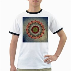 Folk Art Lotus Mandala Dirty Blue Red Ringer T Shirts