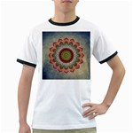 Folk Art Lotus Mandala Dirty Blue Red Ringer T-Shirts Front