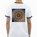 Folk Art Lotus Mandala Dirty Blue Red Ringer T-Shirts Back