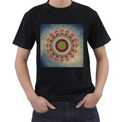 Folk Art Lotus Mandala Dirty Blue Red Men s T Shirt (black) (two Sided)