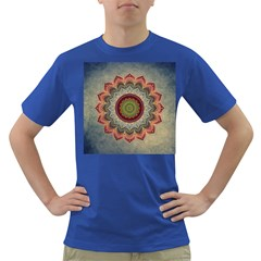 Folk Art Lotus Mandala Dirty Blue Red Dark T Shirt