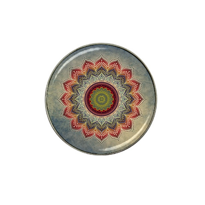 Folk Art Lotus Mandala Dirty Blue Red Hat Clip Ball Marker