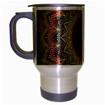 Folk Art Lotus Mandala Dirty Blue Red Travel Mug (Silver Gray) Left