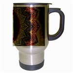 Folk Art Lotus Mandala Dirty Blue Red Travel Mug (Silver Gray) Right