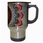 Folk Art Lotus Mandala Dirty Blue Red Travel Mugs (White) Right