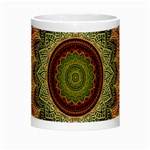 Folk Art Lotus Mandala Dirty Blue Red Night Luminous Mugs Center