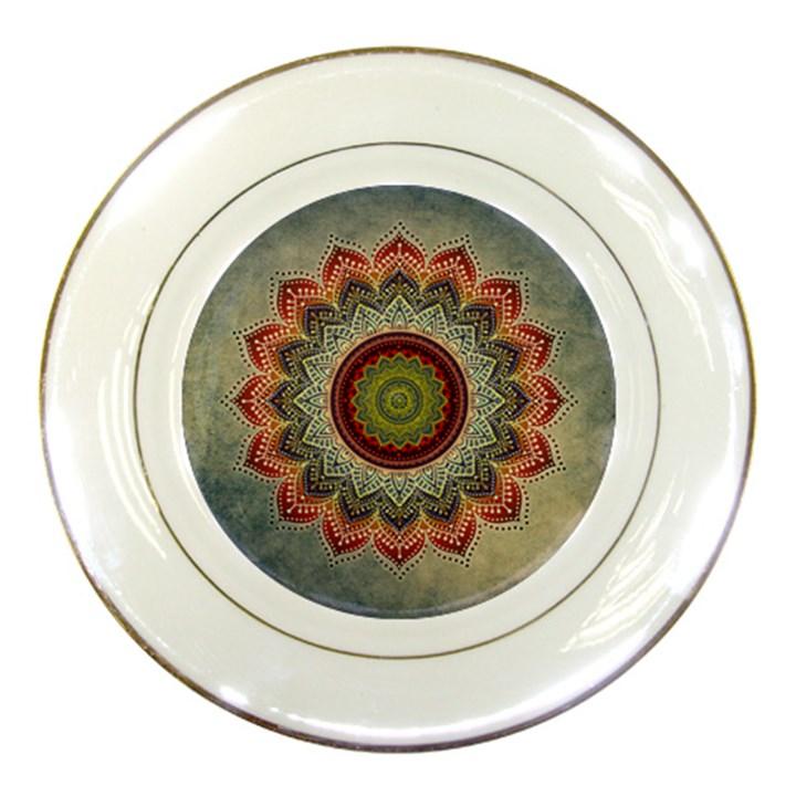 Folk Art Lotus Mandala Dirty Blue Red Porcelain Plates