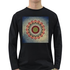 Folk Art Lotus Mandala Dirty Blue Red Long Sleeve Dark T Shirts by EDDArt