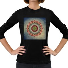 Folk Art Lotus Mandala Dirty Blue Red Women s Long Sleeve Dark T Shirts