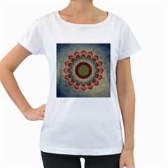 Folk Art Lotus Mandala Dirty Blue Red Women s Loose Fit T Shirt (white) by EDDArt