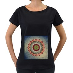 Folk Art Lotus Mandala Dirty Blue Red Women s Loose Fit T Shirt (black) by EDDArt