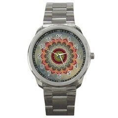 Folk Art Lotus Mandala Dirty Blue Red Sport Metal Watch by EDDArt