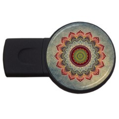 Folk Art Lotus Mandala Dirty Blue Red Usb Flash Drive Round (4 Gb)  by EDDArt