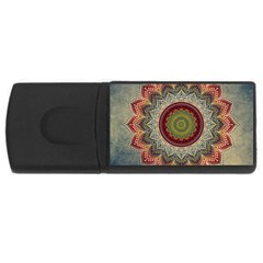 Folk Art Lotus Mandala Dirty Blue Red Usb Flash Drive Rectangular (4 Gb)  by EDDArt