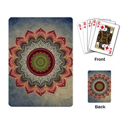 Folk Art Lotus Mandala Dirty Blue Red Playing Card