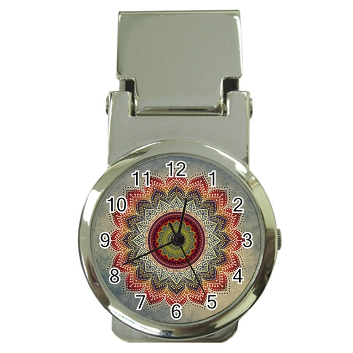 Folk Art Lotus Mandala Dirty Blue Red Money Clip Watches