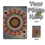 Folk Art Lotus Mandala Dirty Blue Red Playing Cards 54 Designs  Front - SpadeA