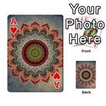 Folk Art Lotus Mandala Dirty Blue Red Playing Cards 54 Designs  Front - HeartA