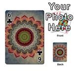 Folk Art Lotus Mandala Dirty Blue Red Playing Cards 54 Designs  Front - Club6