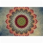Folk Art Lotus Mandala Dirty Blue Red Collage Prints 18 x12 Print - 2
