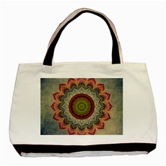 Folk Art Lotus Mandala Dirty Blue Red Basic Tote Bag